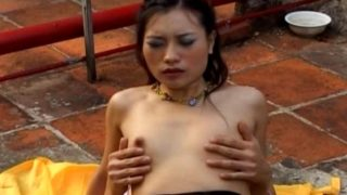 Amateur Japanese fucked hard in the pussy and ass